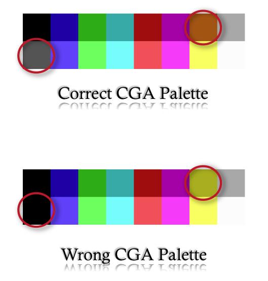 CEV2TV tavolozza CGA corretta
