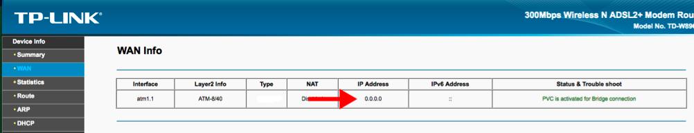 IP router Info TP-Link TD-W8960N